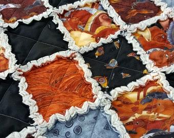 Embracing Horses, Large Rag Quilt, Picnic Quilt, Handmade, Southwest Design in Earthones, Horse Art, Equestrian
