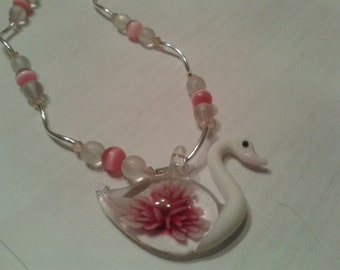 Pretty Pink and White Hand blown Glass Swan with Cats Eye and Sterling Silver Beads Necklace