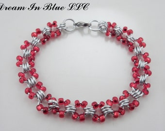 Triple Crimson Bracelet, Anklet, Necklace, Key Chain or Wallet Chain