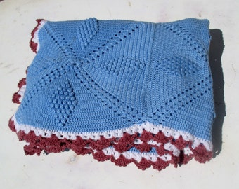 French hand crochet throw / afghan / child's blanket in baby blue