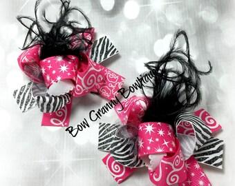 Zebra Bows, Zebra and Pink Bows, Mini Funky Bows, Funky Bows, Funky Hair Bows, Pig Tail Bow, Pig Tail Hair Bows, Black and Pink Bows