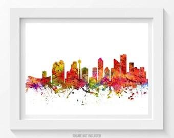 Calgary Poster, Calgary Skyline, Calgary Cityscape, Calgary Print, Calgary Art, Calgary Decor, Home Decor, Gift Idea 08