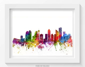 Calgary Poster, Calgary Skyline, Calgary Cityscape, Calgary Print, Calgary Art, Calgary Decor, Home Decor, Gift Idea 06