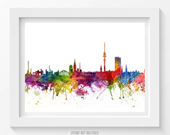 Hamburg Poster, Hamburg Skyline, Hamburg Cityscape, Hamburg Print, Hamburg Art, Hamburg Decor, Home Decor, Gift Idea 06
