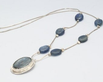 On Sale |  Silver Necklace&Kyanite Stone | Silver Necklace |  Sterling Silver Necklace, Kyanite Jewelry | Christmas gift