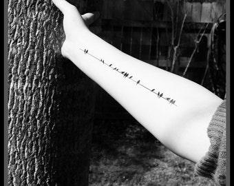 birds on a wire temporary tattoos fake tattoos black birds tattoos body art fake tattoo faux tattoo