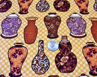 Chocolate & Indigo Fabric~by 1/2 yd~vases~pottery~browns~jars