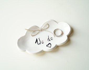 Cloud Shaped Plate, Wedding Ring Plate, Ring Holder, Wedding Ring Pillow, Jewelry Holder, Cloud Plate, Ceramics and Pottery, Pottery Cloud