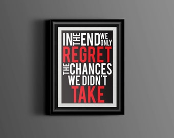 Printable Inspirational Quote, Inspirational Quote Print, Printable Art, Never Regret Quote, 8x10 Print, Printable Word Art, Black and Red