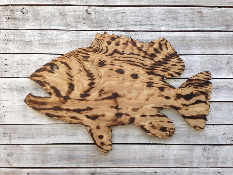 Large outdoor wall art fish decor coastal fish sign for Wooden fish wall decor