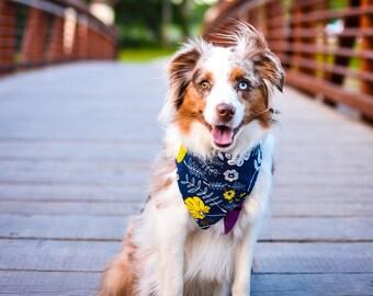 Dog Bandana - Cute Cat Bandana - Snap On Pet Bandana - Floral Meadow Bandana for pets!
