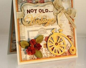 Birthday Card, Vintage Birthday, Handmade Greeting Card, OOAK, Fancy Handmade Card, dimensional