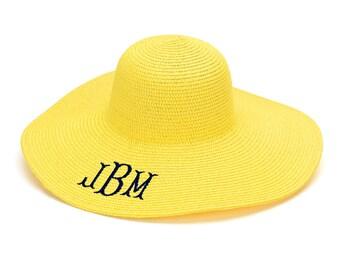 Yellow Monogrammed Floppy Hat