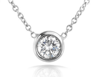 """Diamond Solitaire 1/6 Carat Bezel Necklace in 14K Gold (16"""" Chain)"""