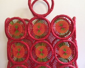 Hand Woven Tote/Purse/Basket - Red/Green