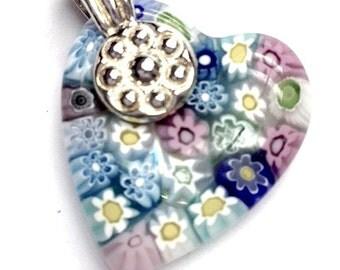 Glass Heart Pendant, Venetian Glass Heart, Murano Glass Heart, Sterling Heart Pendant, Italian Glass Heart, Heart Charms