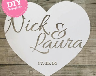 DIY Template Personalised papercut heart wedding anniversary gift