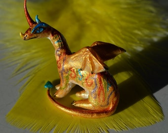 Dragon Ornaments, Dragon Of Patience, Polymer Clay Totem, Miniature
