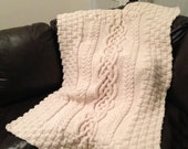 Hand Knitted Blanket, Cabled Blanket, Hand Knitted Throw, Home Decor, Wedding Present, Anniversary Present, Housewarming Gift