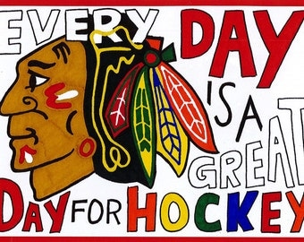 5x7 Hand Lettered Blackhawks Hockey Print