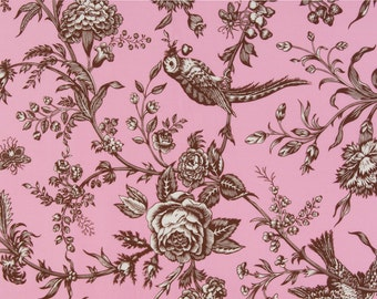 Jennifer Paganelli Sis Boom OOP Fabric for Free Spirit  -  Girlfriends  -  Floral Vine Toile D1347-619 in Pink/Brown  -  One Yard