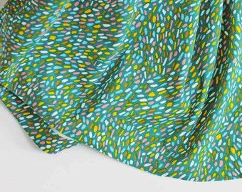 organic dot print knit fabric   Happy Spot by Emily Isabella for Birch Fabrics   colorful confetti on green interlock stretchy modern knits