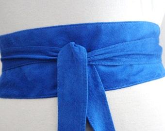 Cobalt Blue Suede Obi Belt | Waist Belt | Suede Tie Belt | Real Suede Leather Belt| Handmade Belt | Plus size belts