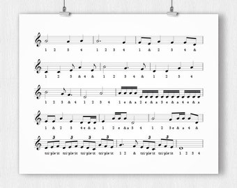 PRINTABLE - Music Timing Reference Poster - Download
