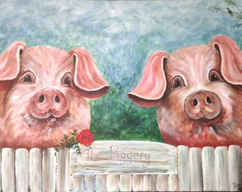 Love In The Piggery. Art print. Pigs