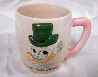 1961 Walt Disney Productions = Ludwig Von Drake Mug - Uncle to Donald Duck - Vintage Coffee Cup