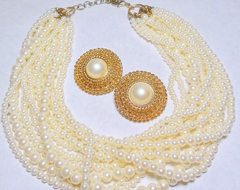 Multi-Strand Faux Pearl Adjustable Necklace and Earring Set