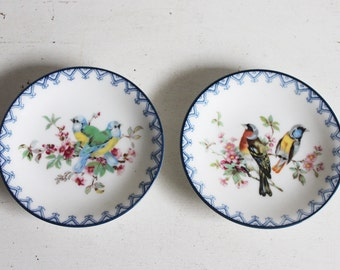 Two small porcelain plates with bird decoration.