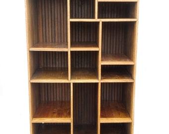 Mid Century Modern Rustic Wood Book Shelf Storage Unit by Southwestern Furniture
