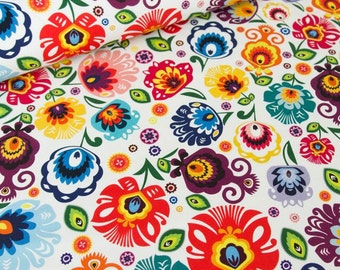 Folk design flowers on white 100% cotton