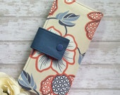 Blue, deep peach colored floral wallet, womens wallet, bifold wallet, credit card wallet, handmade folded wallet, slim wallet, clutch wallet