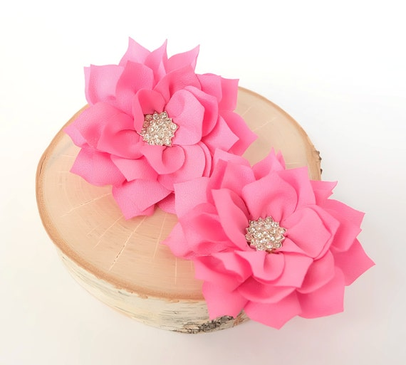 Items Similar To Large Pink Fabric Flowers Diy Headbands