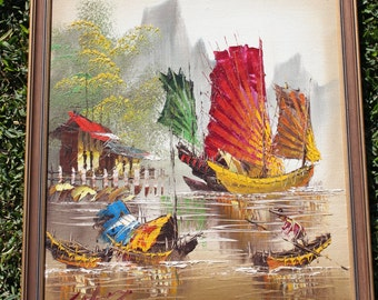 Vintage Hong Kong Framed Oil Painting - Excellent Condition