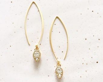 Little Darling Crystal Teardrop Charm with Elegant Gold Architectural Arch Hooks