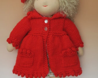 15 inch girl Waldorf inspired doll with lambskin hair and two outfits.