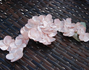Blush pink satin cherry blossom hair clip; Wedding hair; blush pink satin cherry blossoms