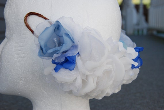 Inverted bridal floral crown in ivory and periwinkle; bridal wreath; wedding crown/wreath