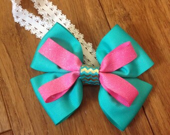 Fancy teal and pink hairbow. FANCY headband. 23