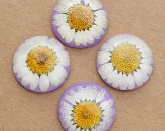 20pcs 25mm Dried Flower Resin Cabochons,Real Flower Cabochon,Resin Dry Flower Cabochon Beads,Purple and White