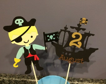 Two piece Pirate Centerpiece with name and age