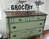 Hand Painted Vintage Green Dresser