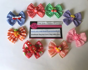 Dog Hair Bow - 2 inch size perfect for Topknot - Special Design and Handmade-Gingham and Strip Base Collection with cute center