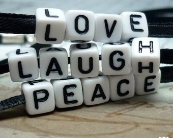 Love Laugh Peace Necklace, Alphabet Beads Necklace, Personalize With Your Own Message, Gifts for Her, Stocking Stuffer