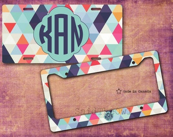 Pastel Colours, Geometrical Pattern, Triangles, Cute Car Tag, Bike Tag, License Plate, License Plate Frame - monogrammed license plate, 5