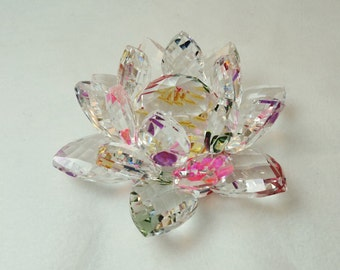 Stunning Large Multi Color Lotus Crystal Flower with Lighted Pod, multi-color light. TR 246