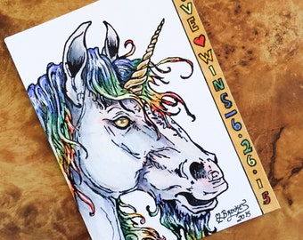 LOVE WINS - 6/26/15 Marriage Equality Unicorn Sketch Card